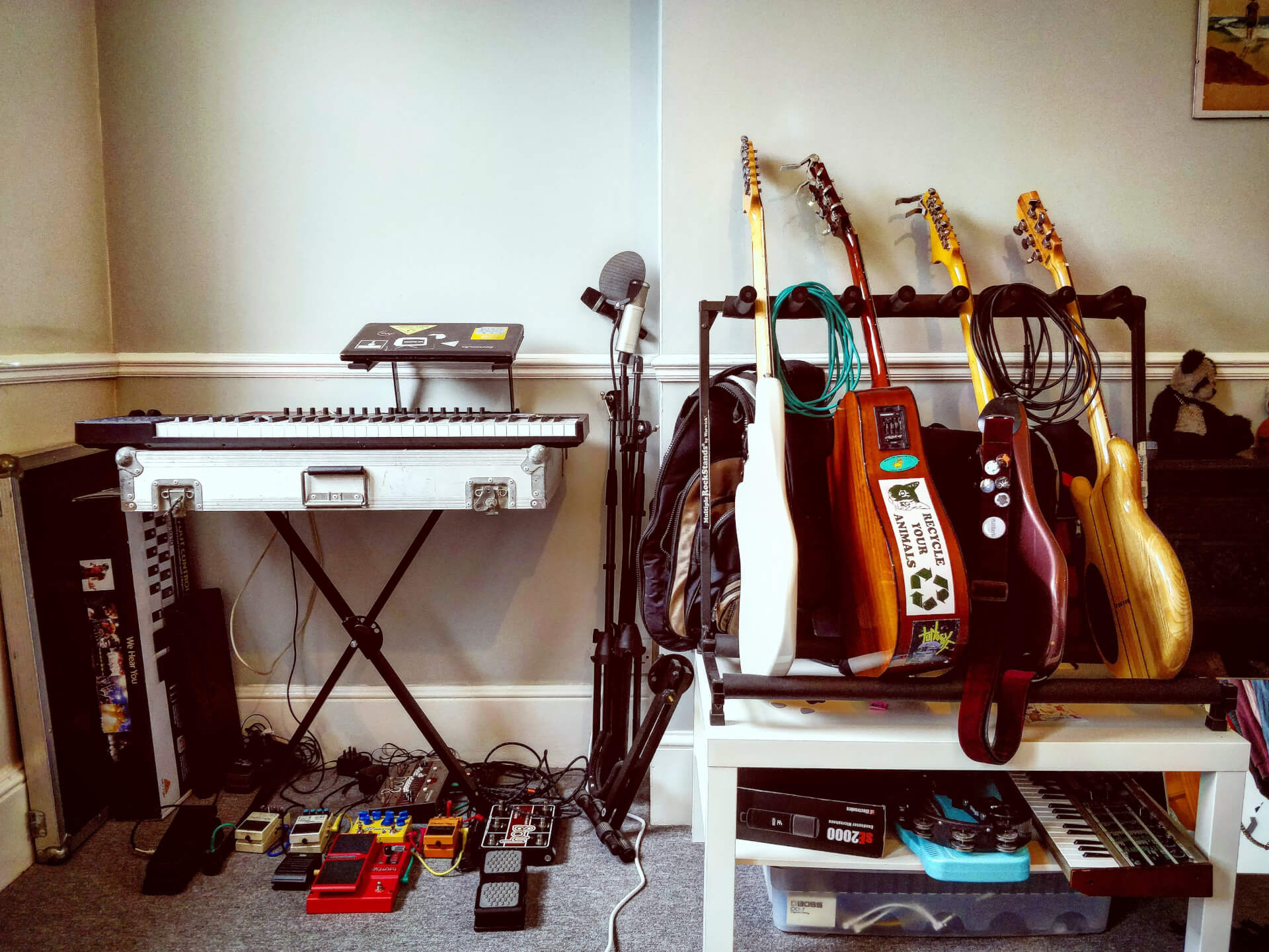 An image of music gear set up for recording