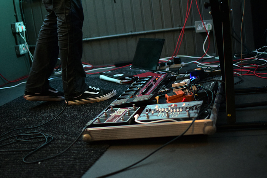 pedalboard with guitar pedals